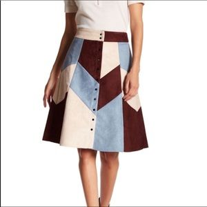 Gracia   Faux Suede Patched Up Skirt